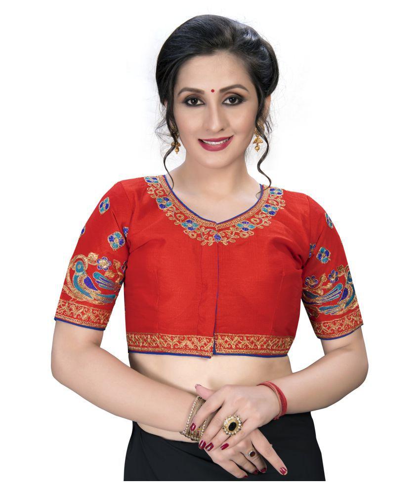 Amrutam Fab Red Silk Semi Stitched Blouse