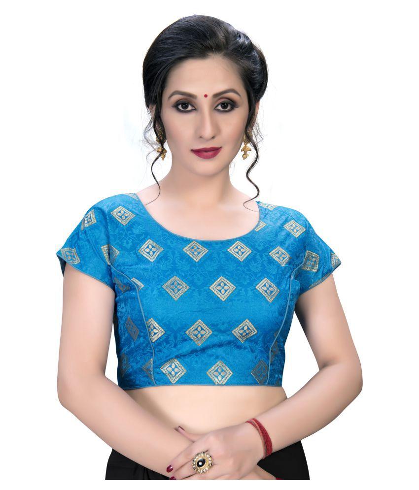 Fab Dadu Blue Jacquard Semi Stitched Blouse