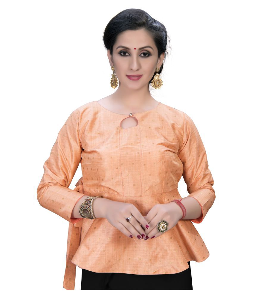 Fab Dadu Peach Silk Semi Stitched Blouse