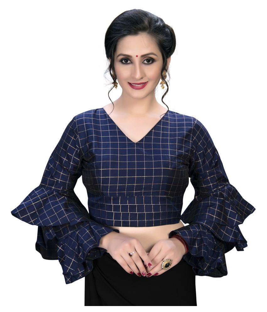 Shubh Sanidhya Blue Silk Semi Stitched Blouse