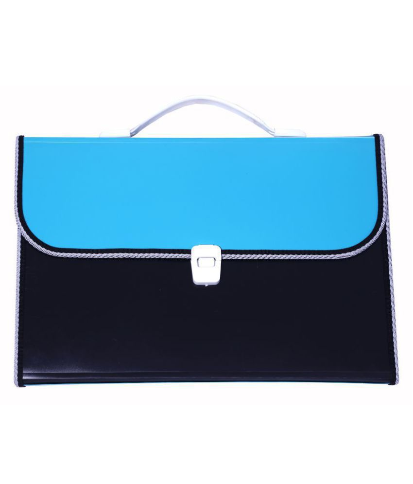 SUMO PRIME Expanding Case File Folder Briefcase Style with Handle (Ideal for Organizing all sorts of Documents, Papers Certificates for Students and Office use) (Size - F/C) (Color - BLUE & BLACK)