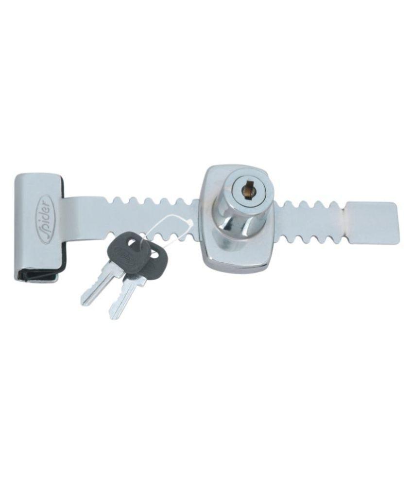 Spider Steel Regular Sliding Glass Lock with 2 Moulded Keys (Pack of 4 Pcs) ( Pack of 4 Pcs.)