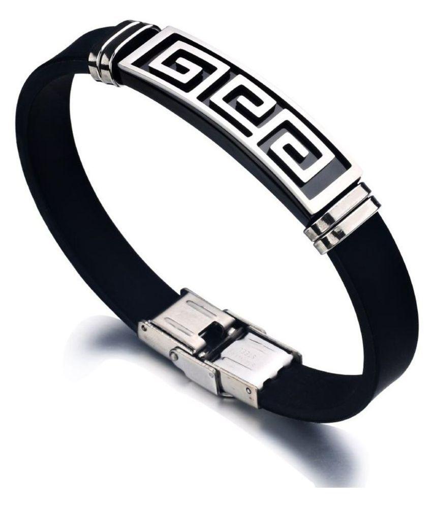 ZIVOM Black Faux Leather Bracelets
