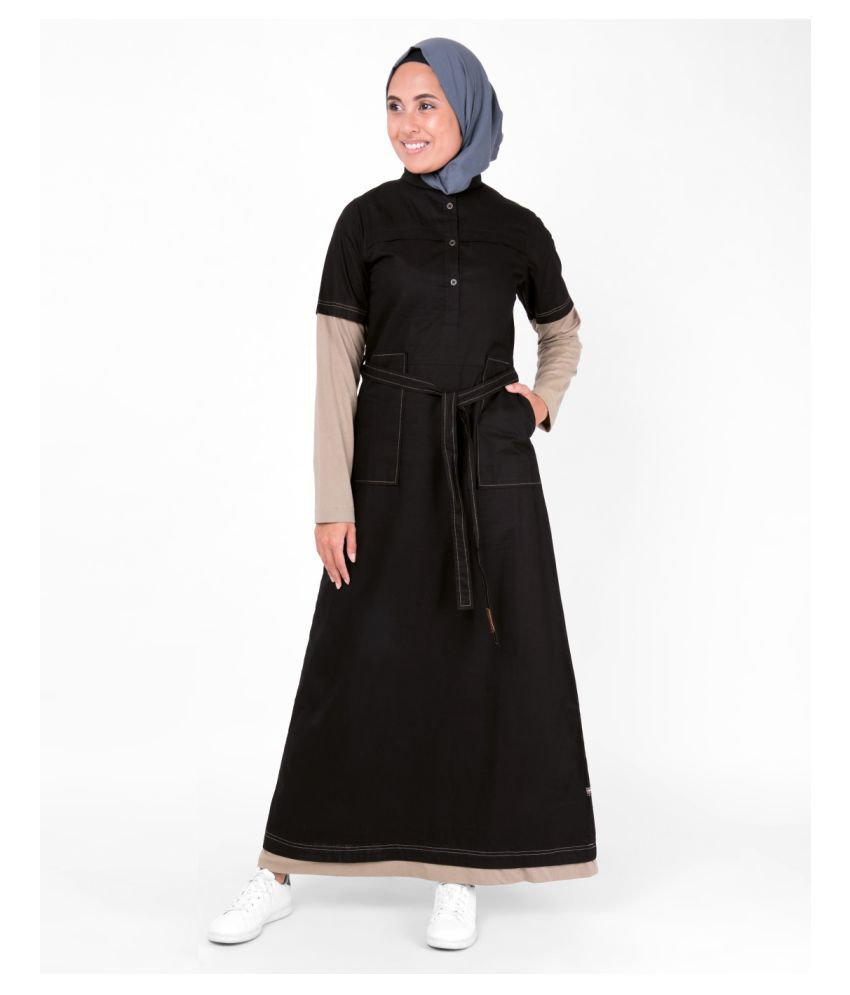 Silk Route London Black Cotton Stitched Burqas without Hijab