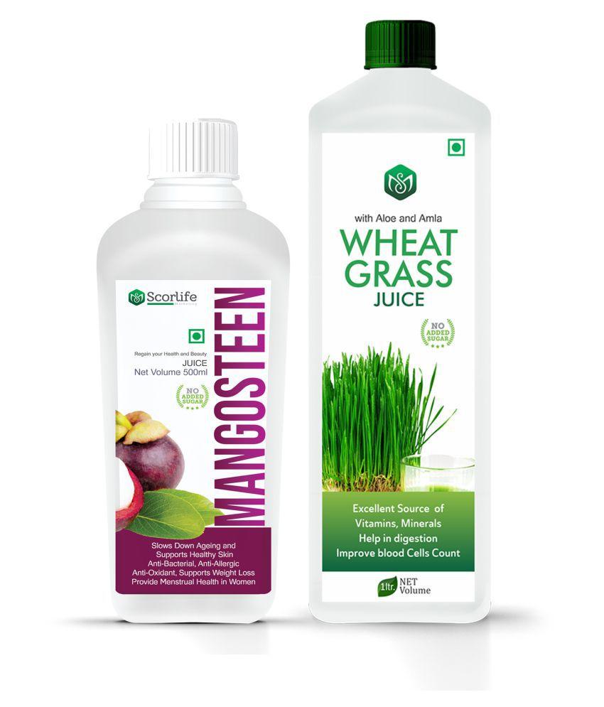 Scorlife Mangosteen Juice 500ml. & Wheatgrass Juice 1000ml. Sugar Free Health Drink 1500 ml Pack of 2
