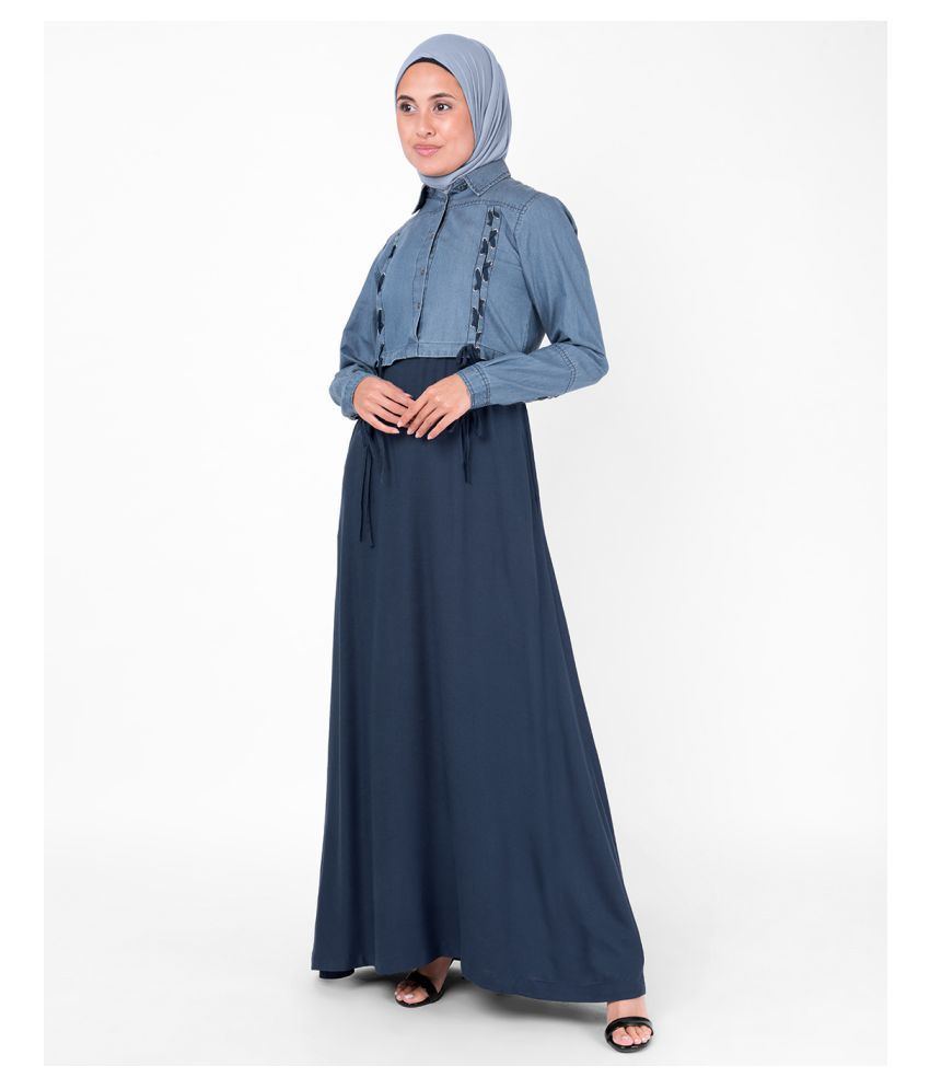 Silk Route London Blue Cotton Stitched Burqas without Hijab