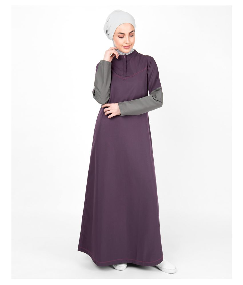 Silk Route London Purple Polyester Stitched Burqas without Hijab