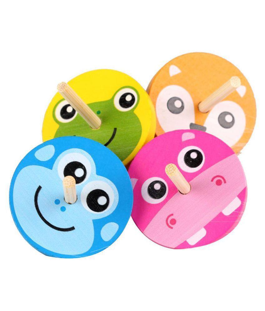 Wooden Children Multicolor Cartoon Leisure Hand Spinning Top Toy