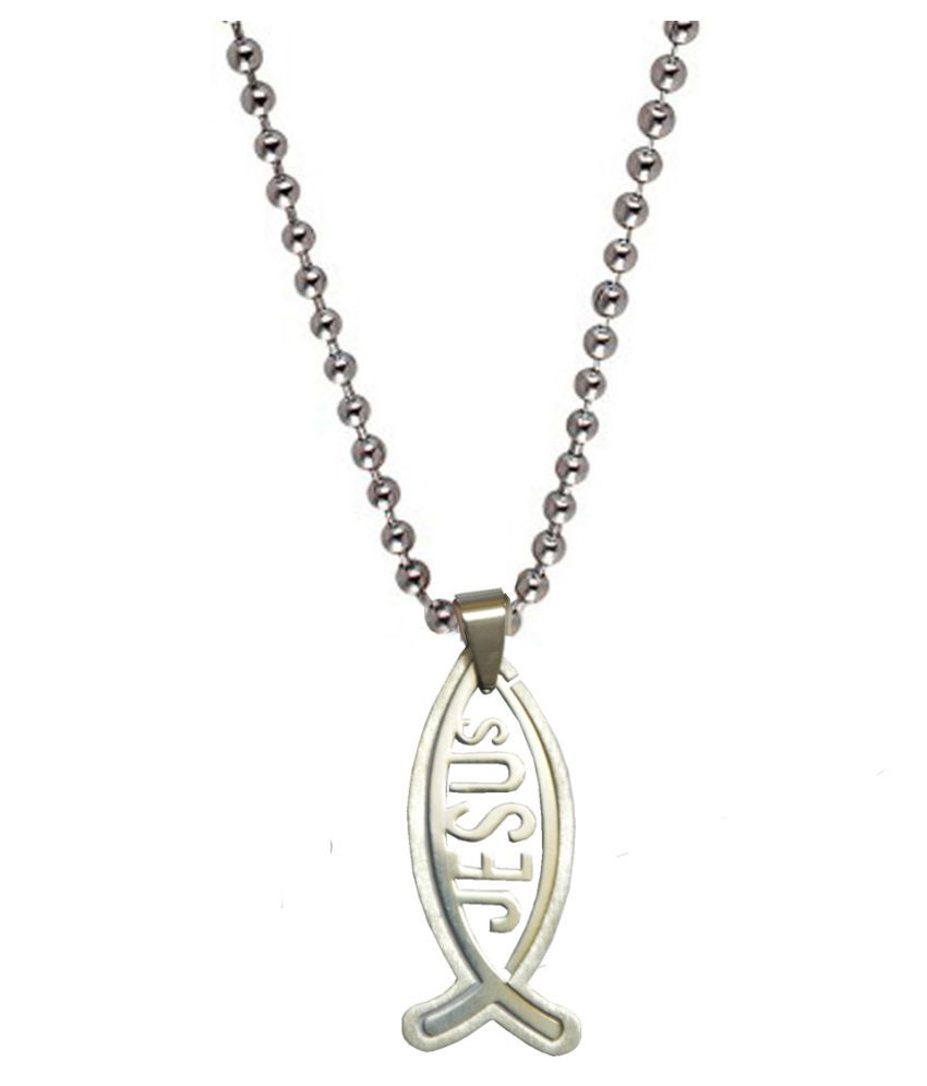 Men Style  Jesus Fish Pendant  Engraved Silver Dog Tag