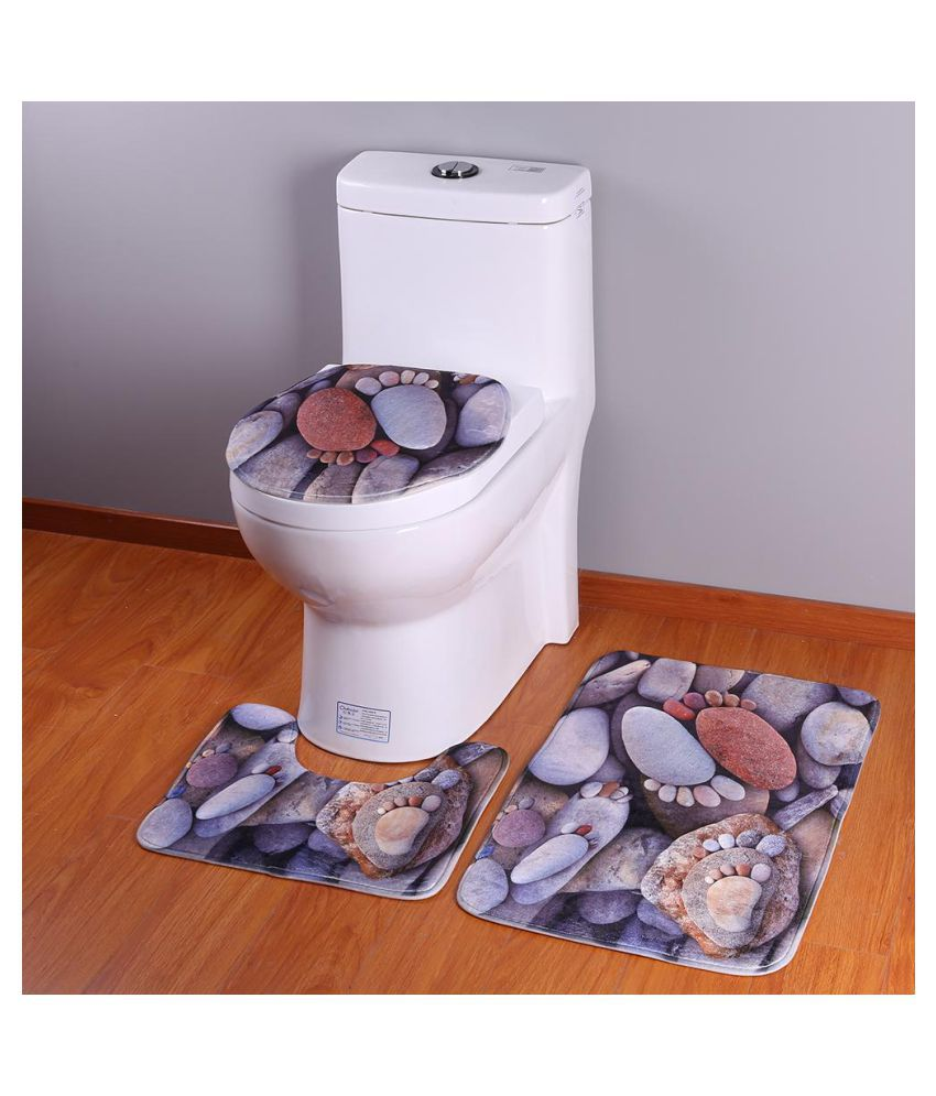 3pcs//set Water Absorb Floor Rugs Carpet Bath Mats Non Slip Soft Toilet Bathroom