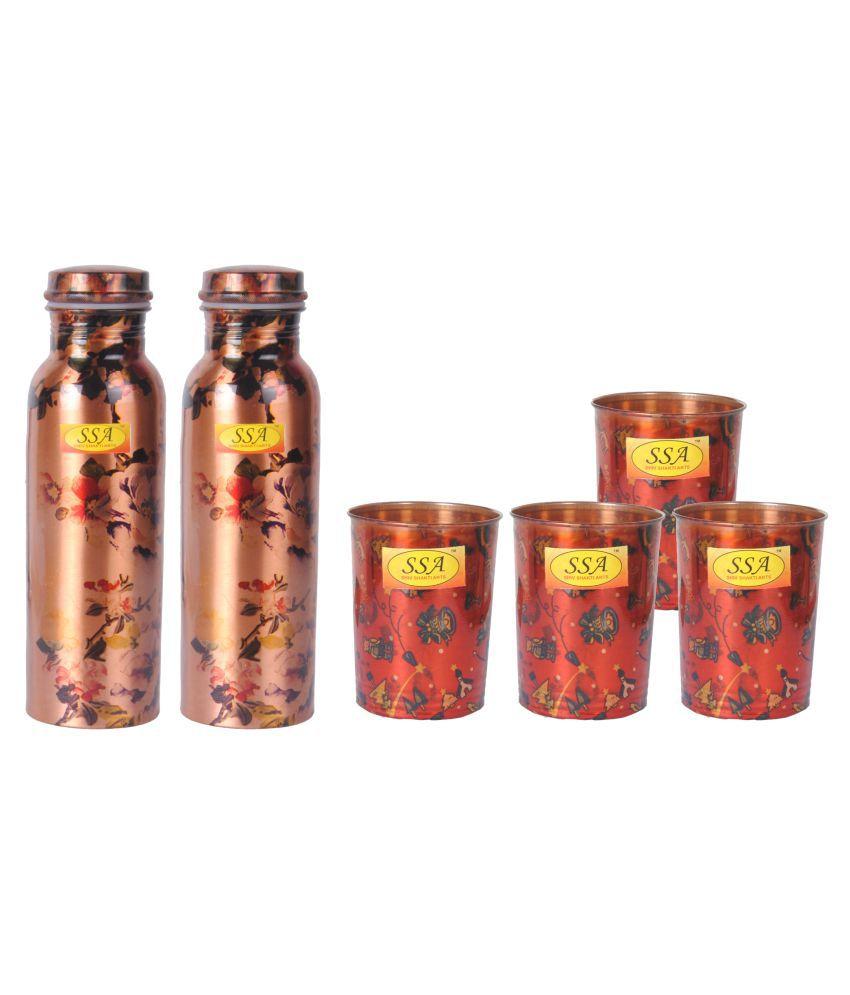 Shiv Shakti Arts Bottle & Glasses Set 7 Pcs Lemon set