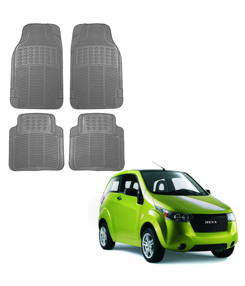 Auto Addict Car Simple Rubber Grey Mats Set of 4Pcs For Mahindra Reva