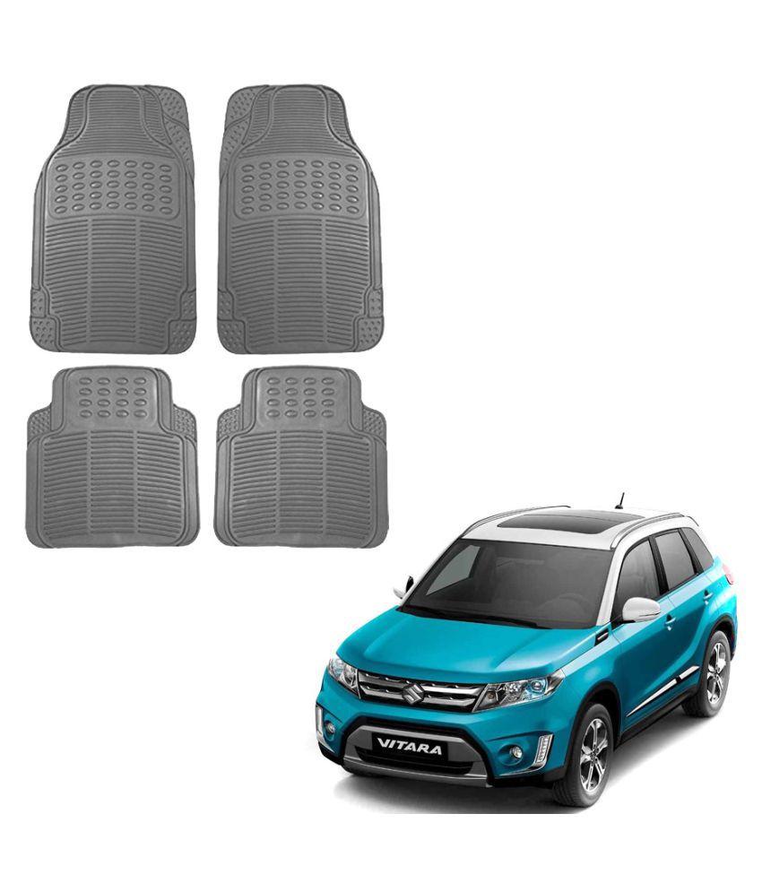 Auto Addict Car Simple Rubber Grey Mats Set of 4Pcs For Maruti Suzuki Vitara Brezza