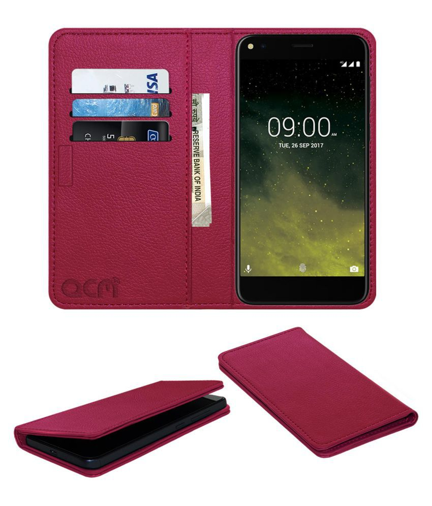 LAVA Z70 4G Flip Cover by ACM - Pink Wallet Case,Can store 3 Card/Cash