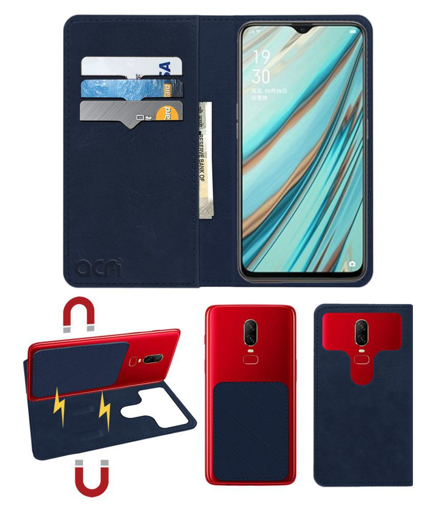 OPPO A9X Flip Cover by ACM - Blue 2 in 1 Detachable Case,Attachable Flip With Magnet
