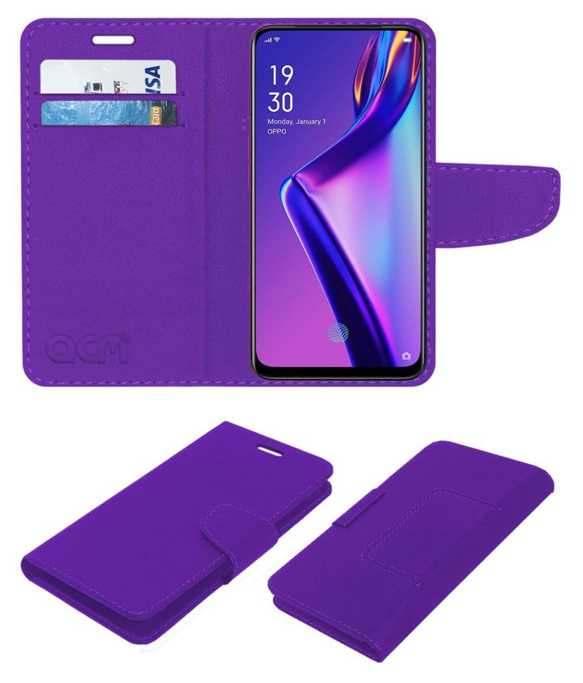 OPPO K3 Flip Cover by ACM - Purple Wallet Case,Can store 2 Card/Cash