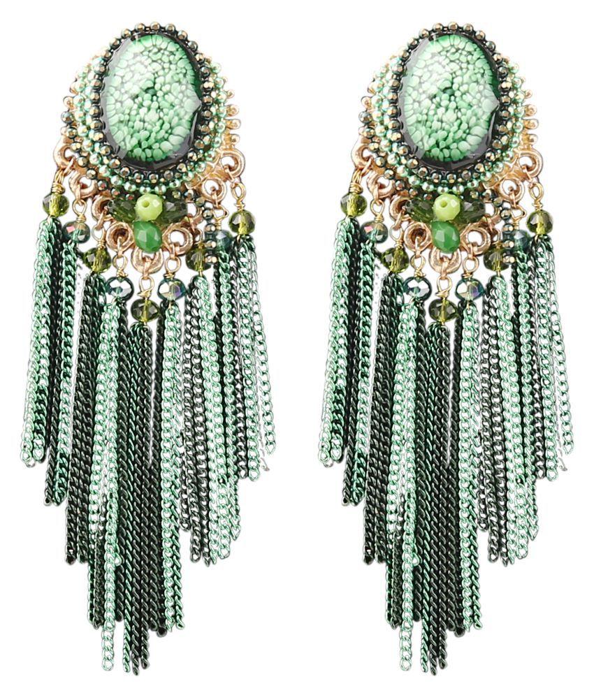 Mizorri Crystal Beaded Metal Chain Long Earrings For Women