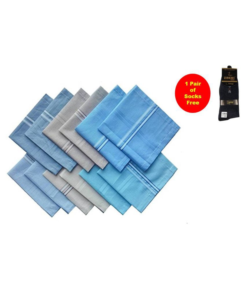 Elite Premium 100% Pure Cotton Colorful Handkerchiefs Combo for Men & Boys - Pack of 12 (with 1 Free Pair of Socks)