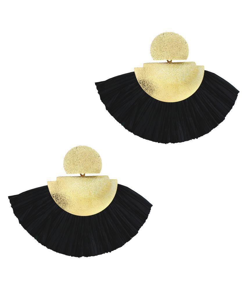 ZIVOM® Fan Tassel Bohemian Gypsy Black Statement Earrings for Women Girls