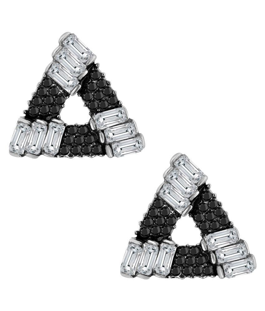 ZIVOM® Triangle AAA Crystal American Diamond Spinal Black Rhodium Stud Earring Girls Women