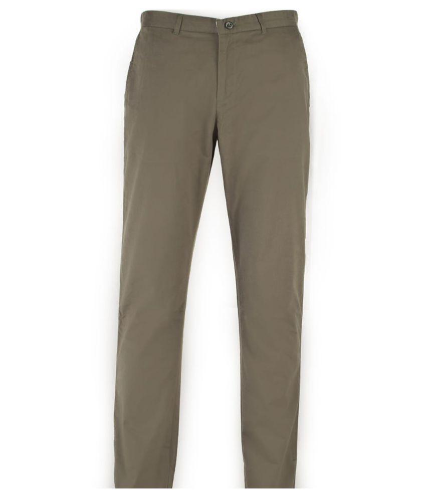 7TH STITCH Dark Green Regular -Fit Flat Trousers