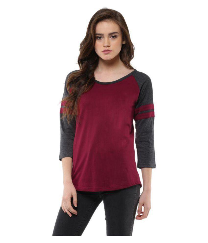 Veirdo Cotton Maroon T-Shirts