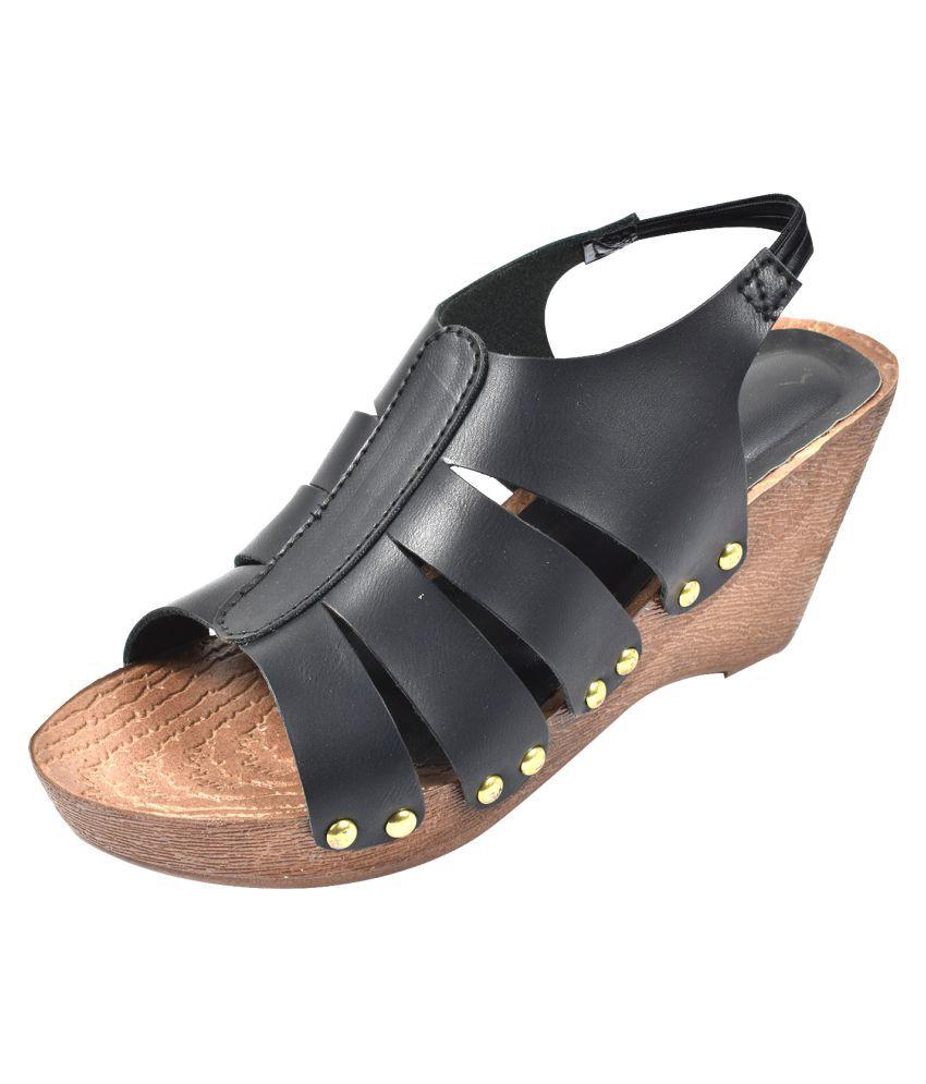fashion ride Black Wedges Heels