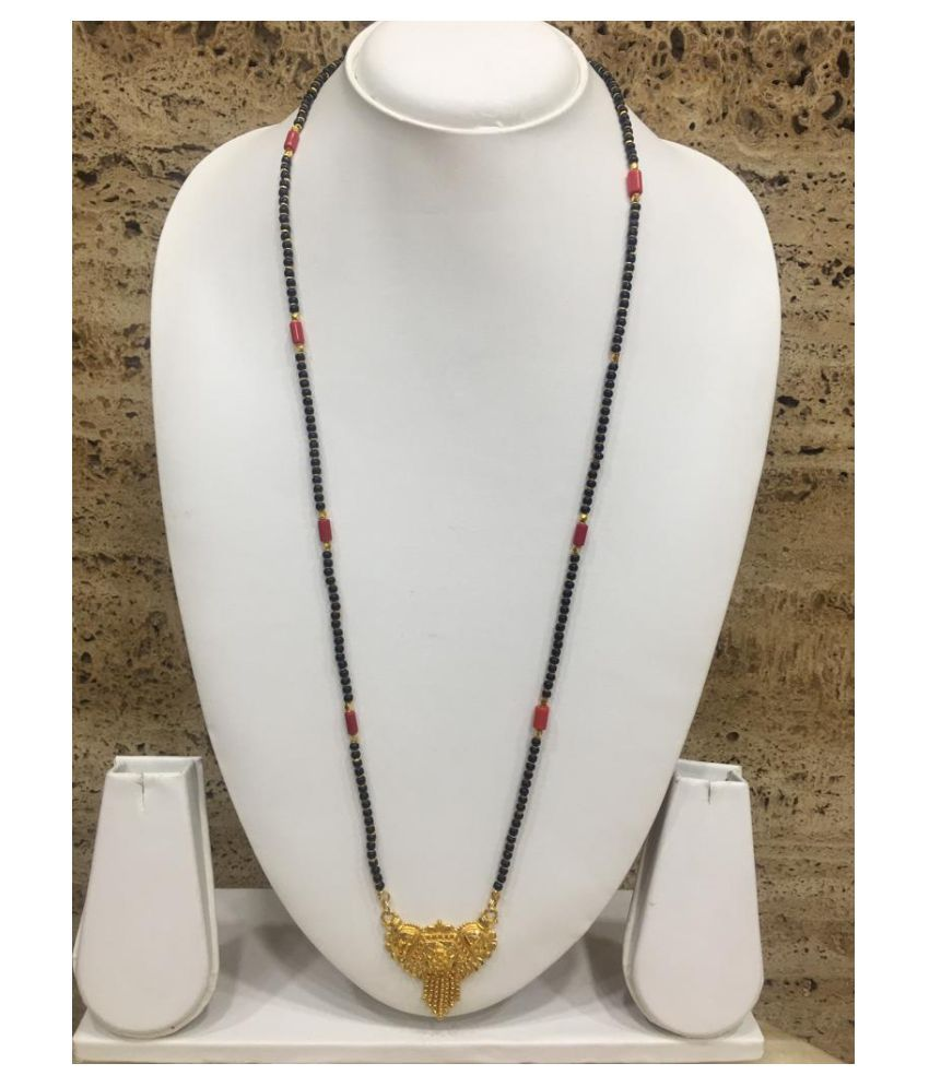 Jewellery Women's Pride Gold Plated Mangalsutra Necklace 30-Inches Length Traditional Ethnic Latest Design Golden Pendant & Latkan Black & Orange Coral Bead Single Line Long Chain for Girl