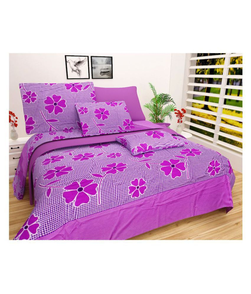 Exopick Microfibre Double Bedsheet with 2 Pillow Covers
