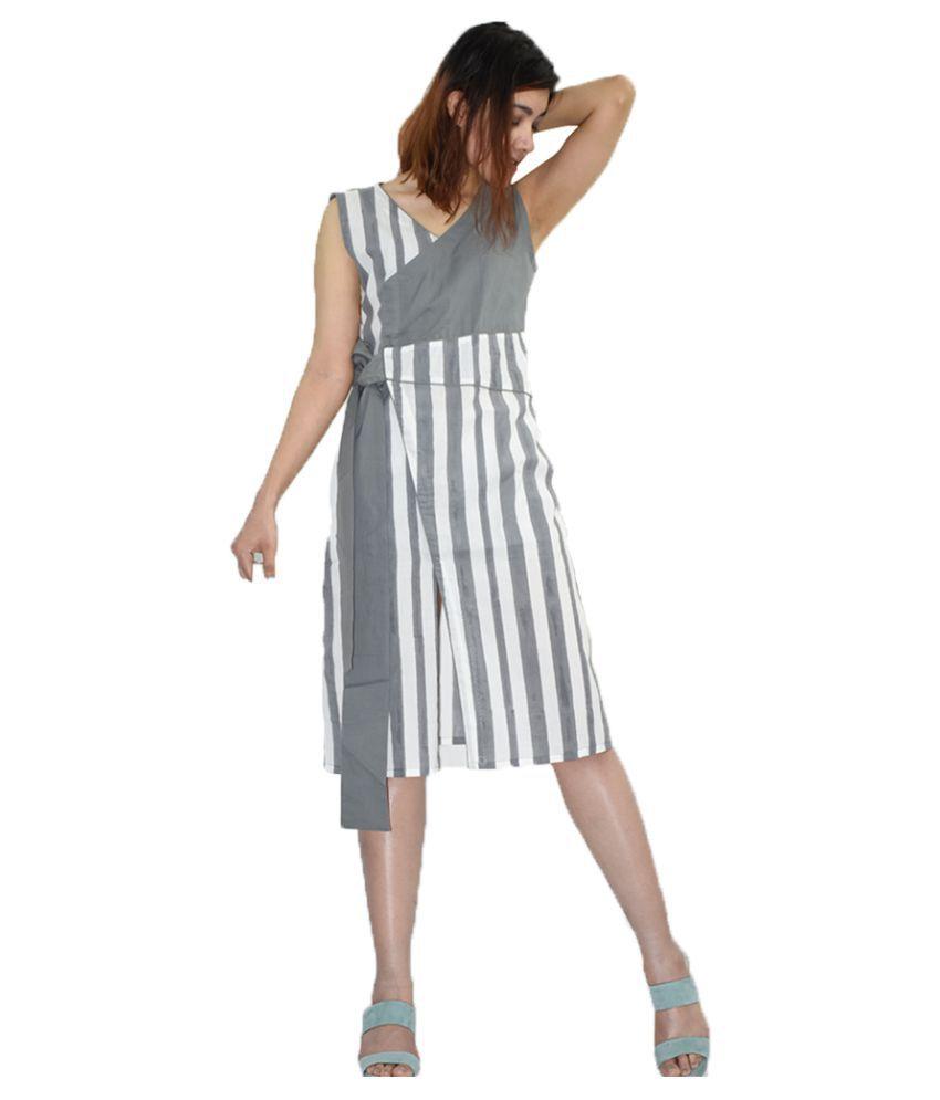 Rajneeral Babutta Group Cotton Grey A- line Dress