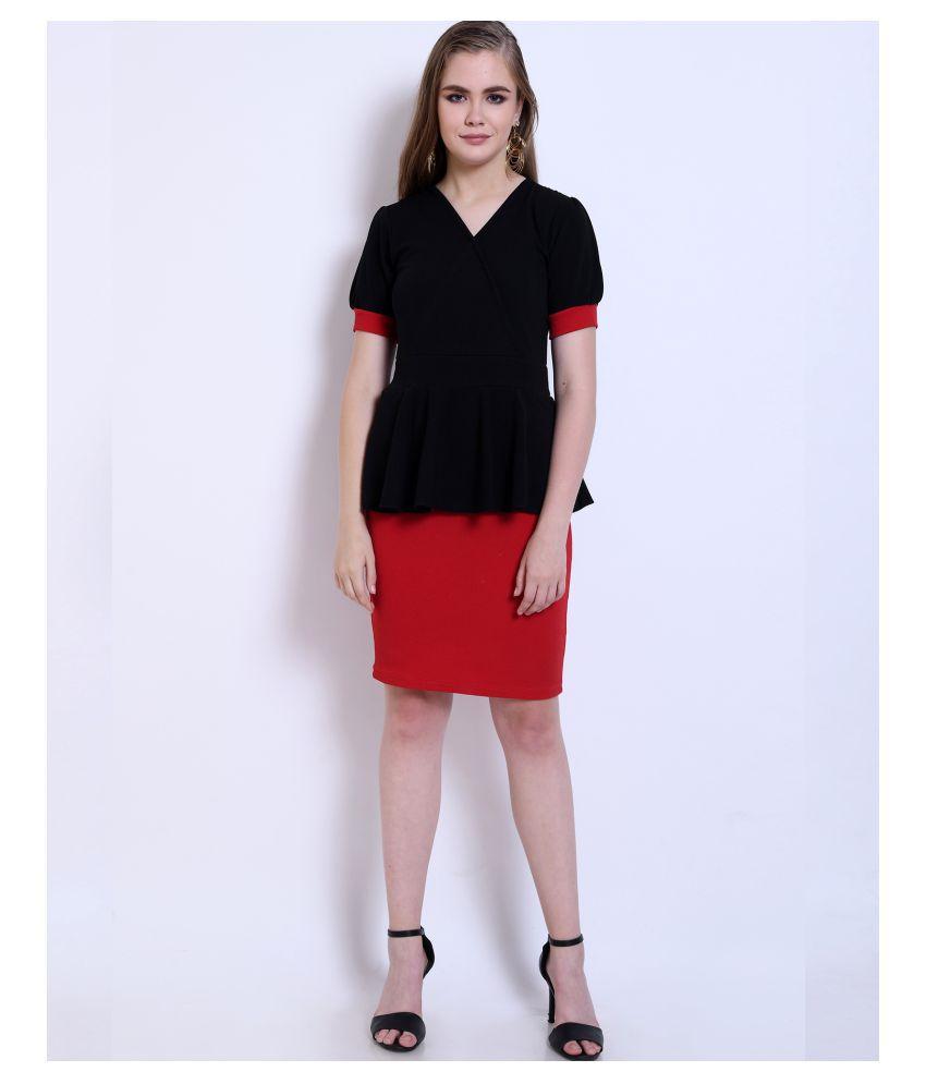 Addyvero Cotton Lycra Black Peplum Dress