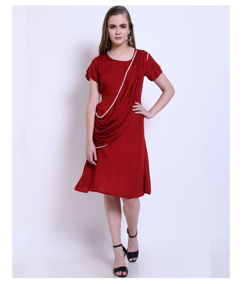 Addyvero Rayon Red A  line Dress