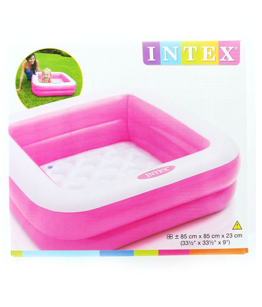 maruti enterprise Inflatable Summer Set Pool Baby Tub | Age 2-5 Years | Easy-To-Use Drain Valve | Summer Toy | Square Shape| 2 Rings Outer | Indoor Outdoor | 34 H 10 Inches | Pink Inflatable Pool (Pink)