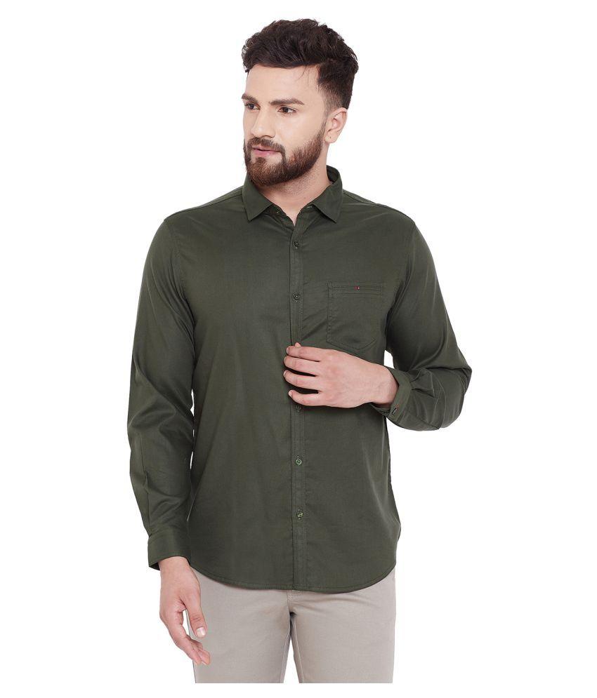 Canary London Cotton Blend Green Solids Shirt