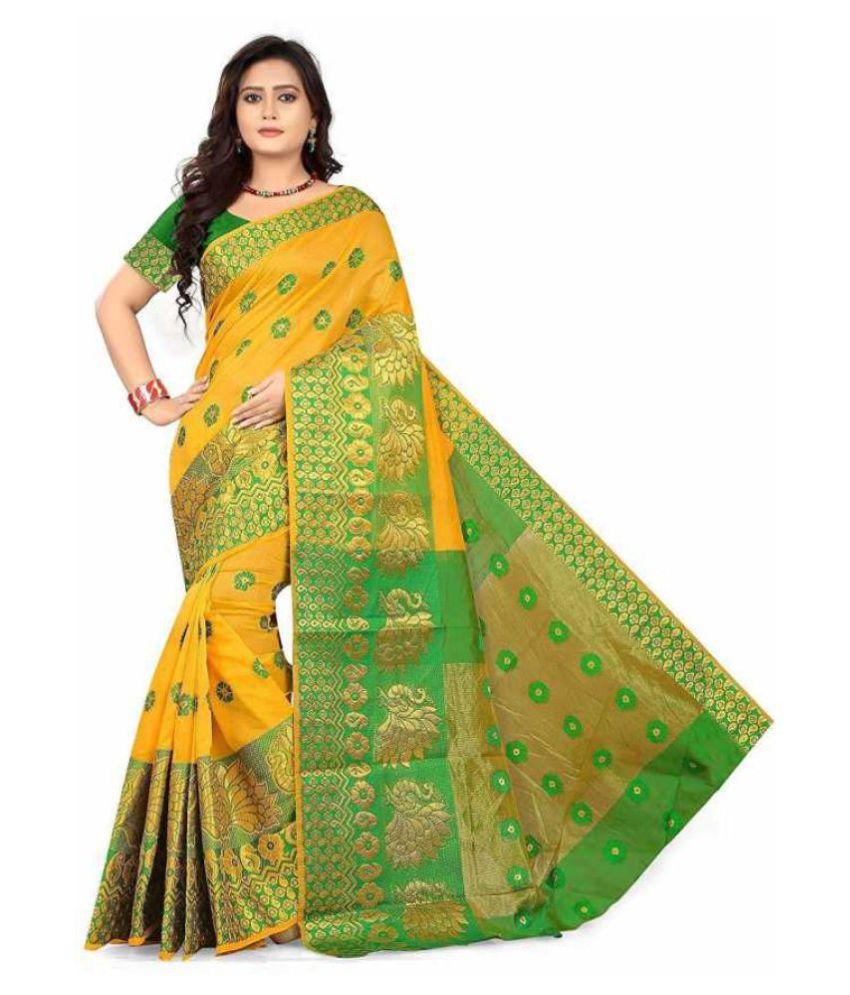 MAANYASRI CREATION Yellow Banarasi Silk Saree