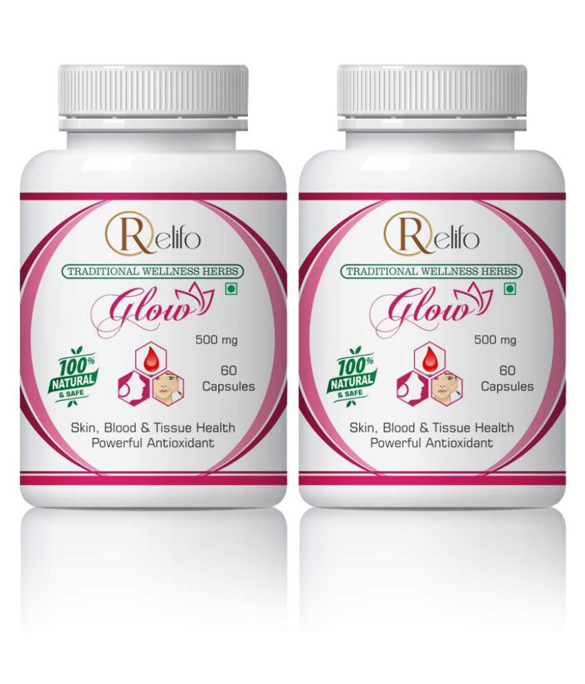 Relifo Glow For Skin Glow Blood & Tissue Health Capsule 500 mg Pack Of 2