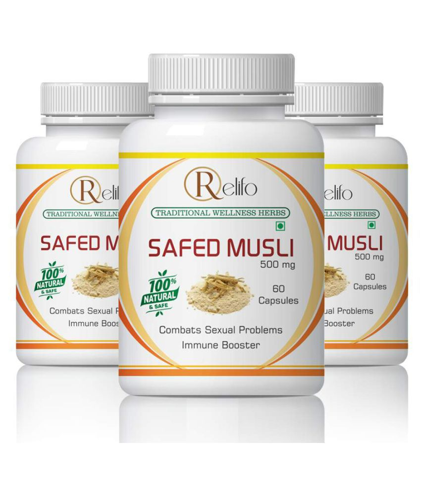 Relifo Safed Musli Strength & Immune Booster Capsule 500 mg Pack of 3