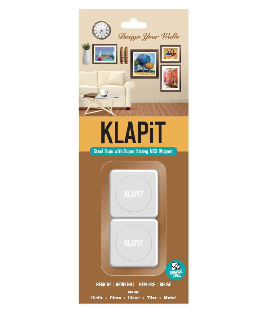 KLAPiT - Picture Hanging Strips for Damage Free Hanging of Photo Frames, Paintings, Clocks, Shelves, Power Cords, Remote Controls, Key Holders, Indoor Plants, Door Bell and many more products