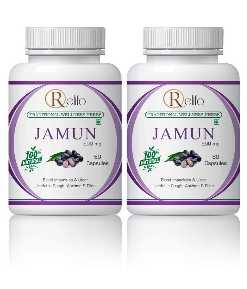 Relifo Jamun Capsule for Diabetes Organic Capsule 500 mg Pack Of 2