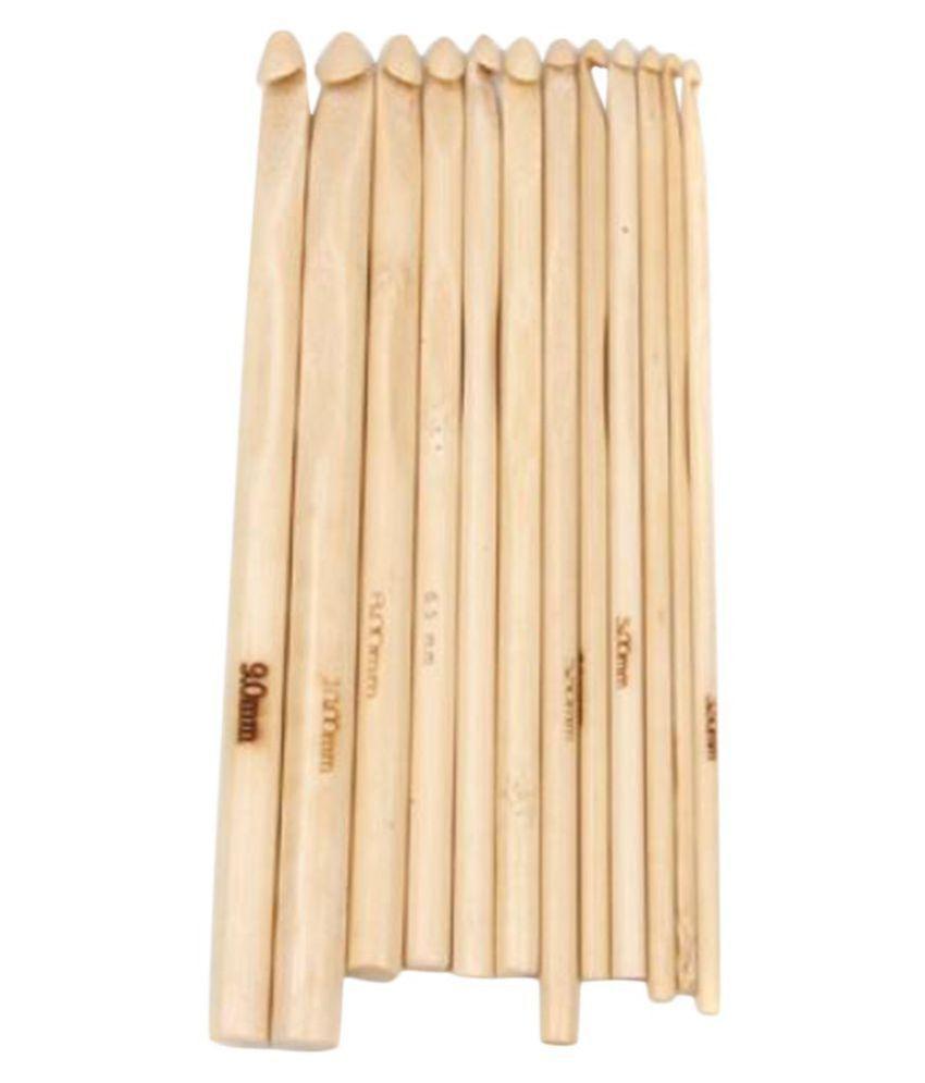 12 Sizes Bamboo Crochet Hooks Knitting Needles 3.0-10Mm-15004431Mg