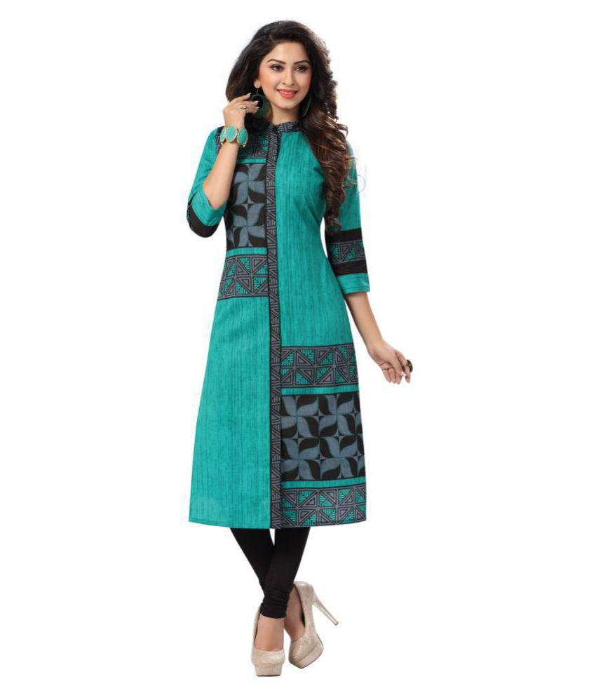 Salwar Studio Green Cotton Straight Kurti