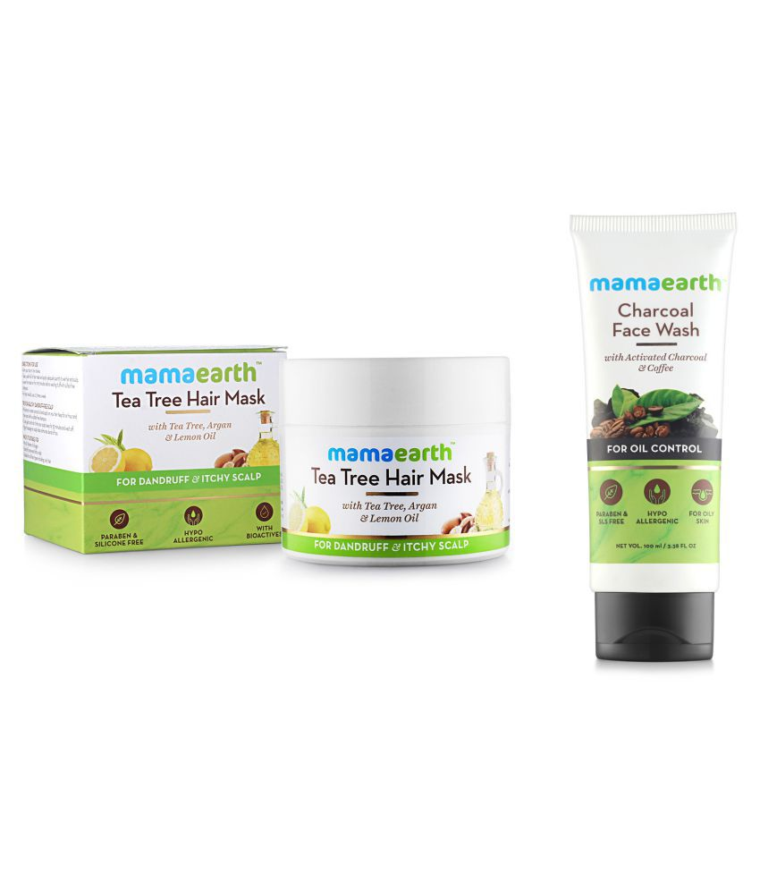 Anti Dandruff Tea Tree Hair Mask with Tea Tree and Lemon Oil For Danrduff Control and Itch Treatement, 200ml and Charcoal Natural Face Wash for oil control and pollution defence 100 ml - For Oily Skin