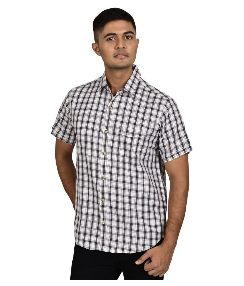 Freestone 100 Percent Cotton White Checks Shirt
