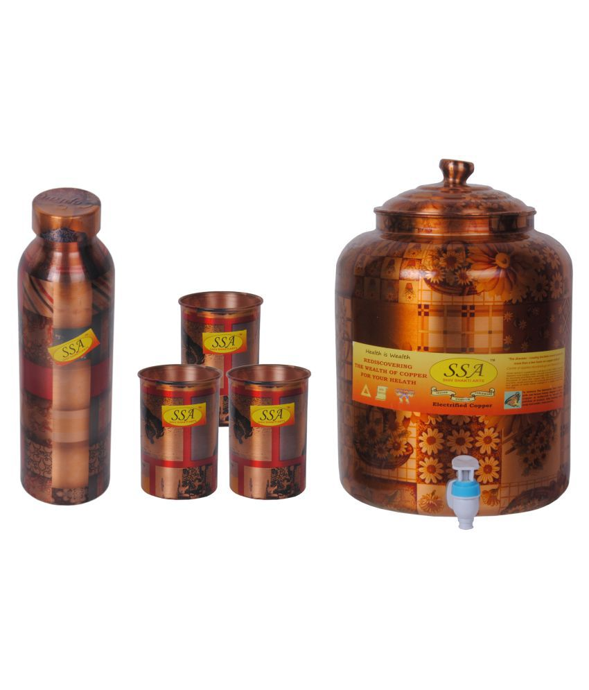 Shiv Shakti Arts Copper Drinkware Set 5 Pcs Juice Set