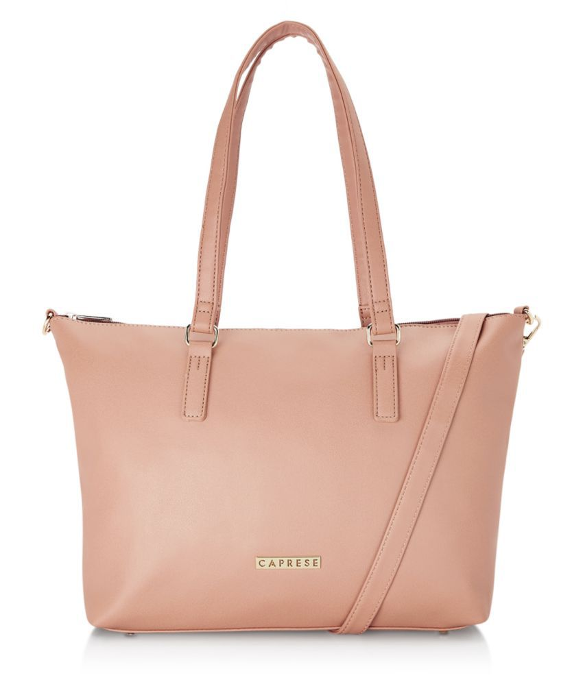 Caprese Pink Faux Leather Tote Bag