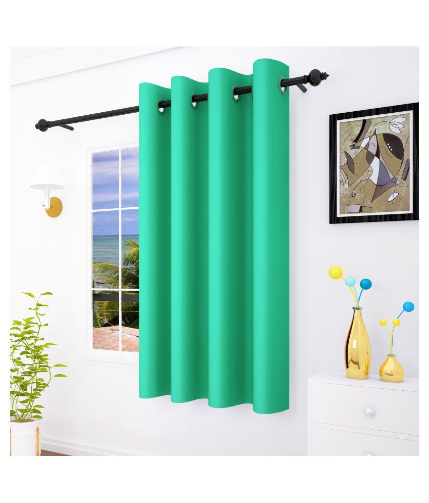 Story@Home Single Window Blackout Room Darkening Eyelet Silk Curtains Green