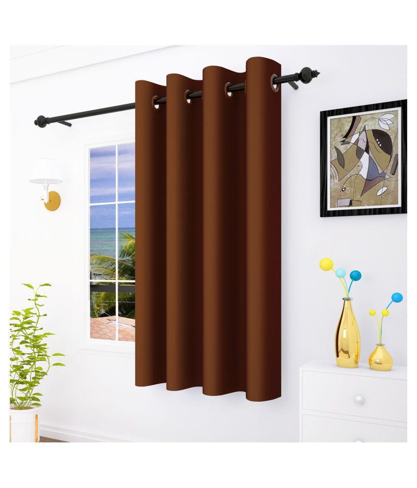 Story@Home Single Window Blackout Room Darkening Eyelet Silk Curtains Brown