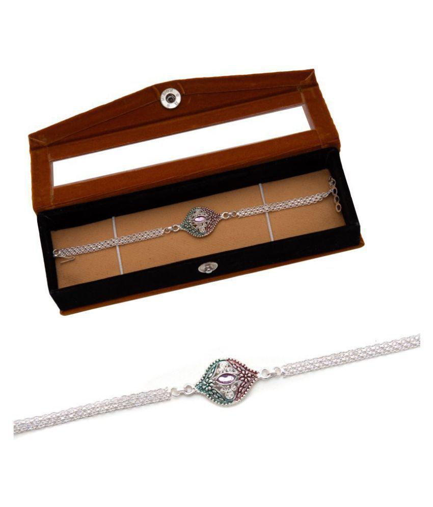 Silver/Gold Plated Rakhi NINE10 Silver Rakhi with Velvet Gift Box. Silver Pack of 1