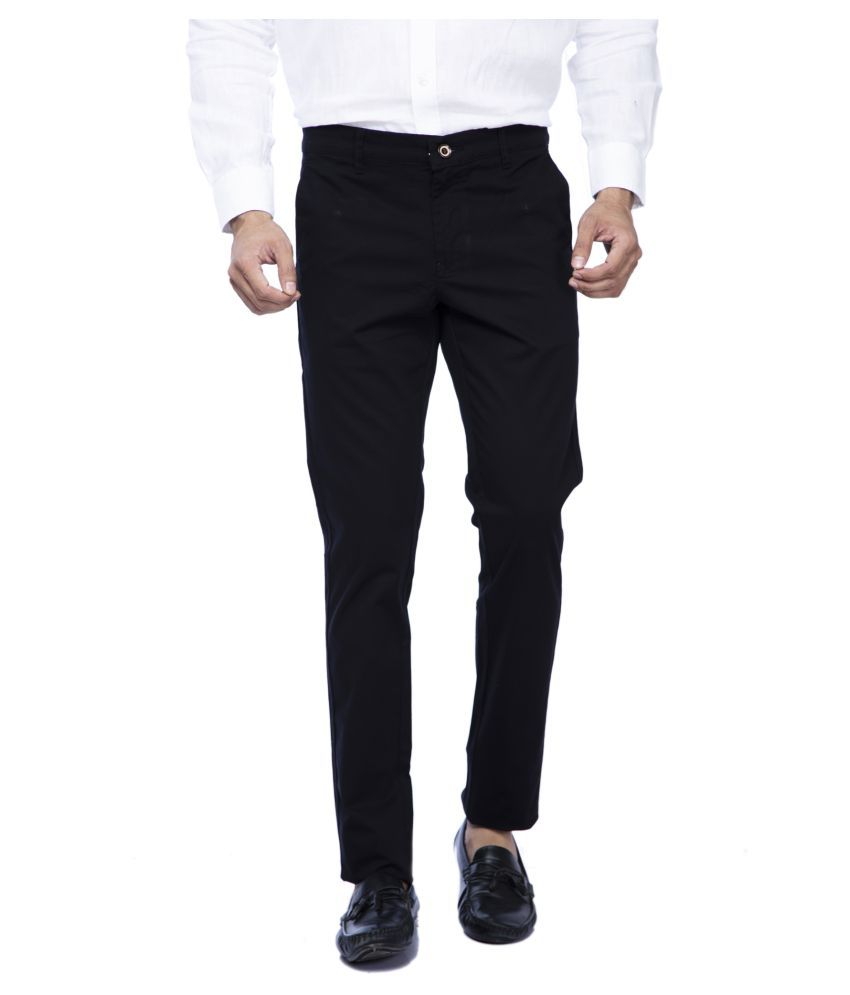 GREEN SIGNAL Black Slim -Fit Flat Chinos