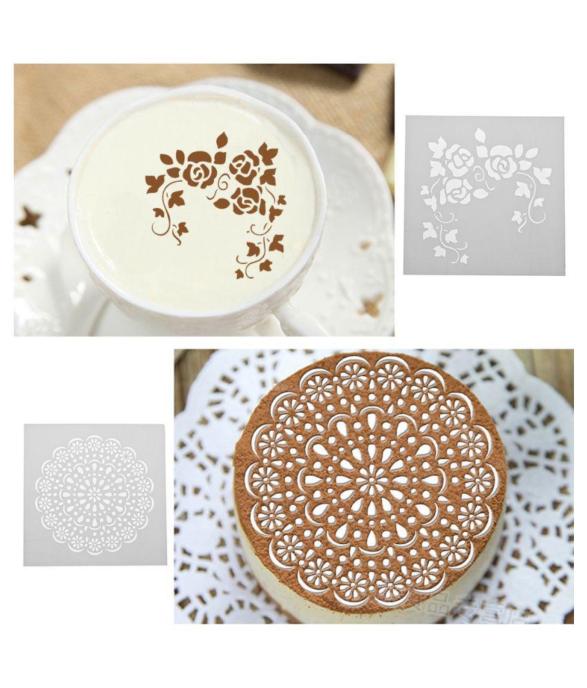 2pcs Plastic Printing Fondant Cake Cookies Mold DIY Mold Cutter Decor Tool